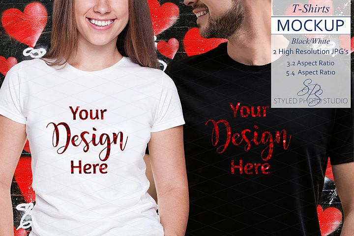 Couples tShirt Mockup for Valentine 3.2 and 5.4 Aspect Ratio