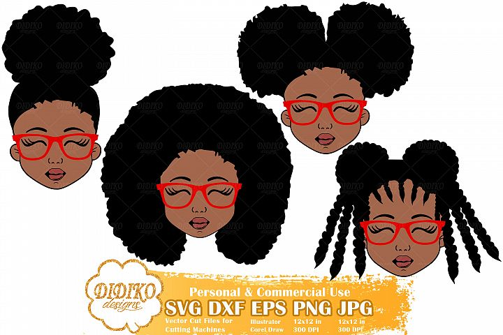 Black Girl Bundle SVG, Afro Girl with Glasses Svg, Afro Puff