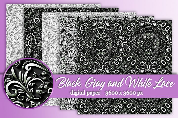 12 Black Gray White wedding lace digital paper Background
