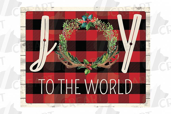 Joy to the World plaid Christmas home decor, shirt, pillow