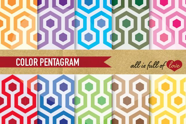 Hexagon Digital Paper 50s Background Patterns