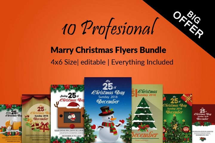 10 Merry Christmas Flyers Bundle