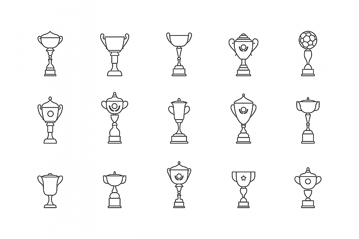 Trophy winner cup icon flat vector icon. Prize flat vector