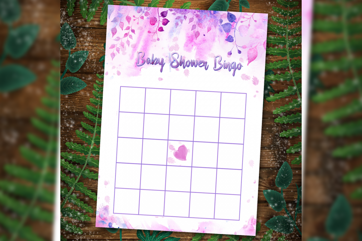 Floral Baby Shower Bingo Games template printable Watercolor