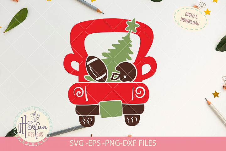 Christmas truck football, Christmas SVG