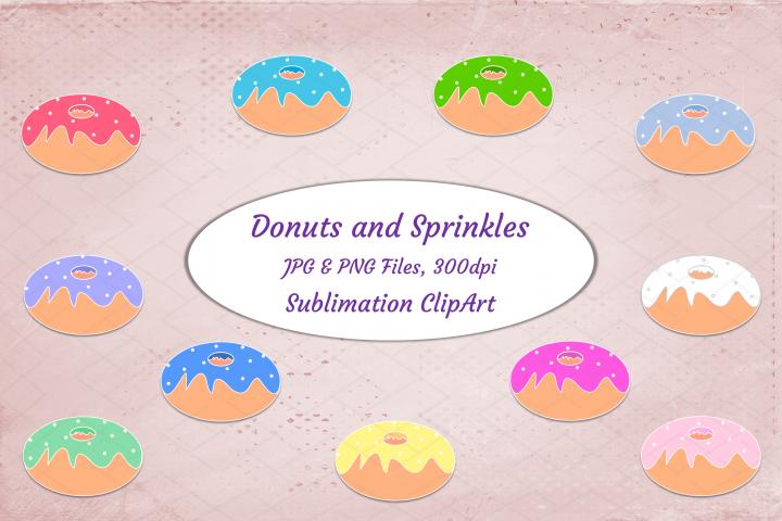Donuts Sublimation Clipart Retro Style Sweets Dessert Bundle