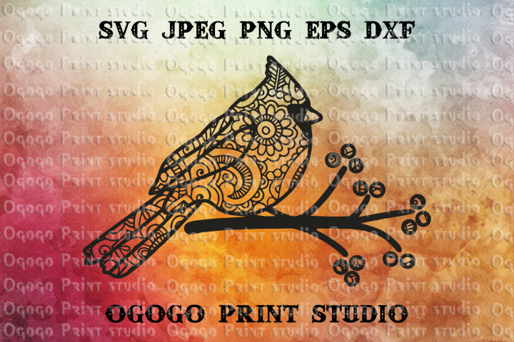 Cardinal SVG, Zentangle SVG, Bird svg, Mandala svg