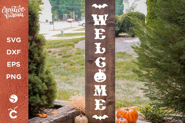 Halloween Porch Sign SVG DXF, Welcome Halloween Svg Dxf