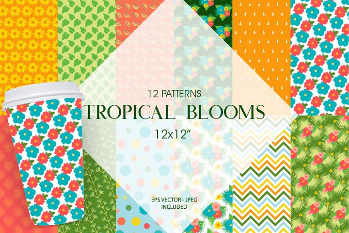 Tropical Blooms Pattern collection, vector ai, eps and