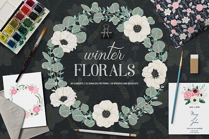 Winter florals vector collection