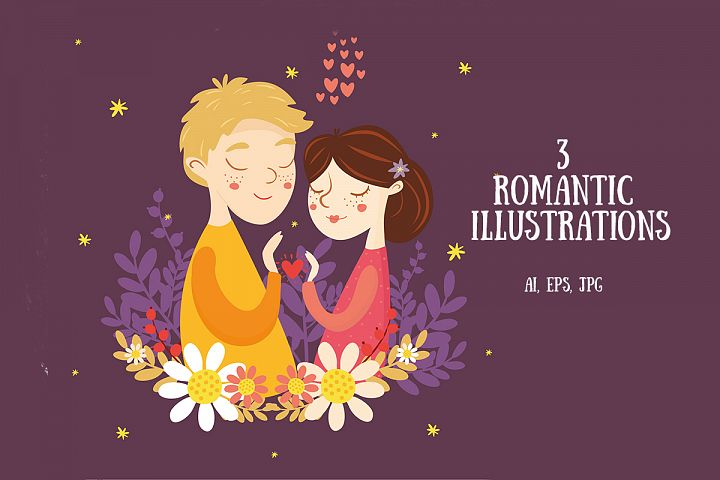 Vector romantic greeting card boy and girl