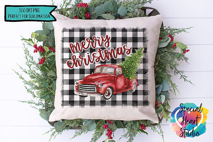 Christmas Sublimation Printable - Red Truck Buffalo Plaid