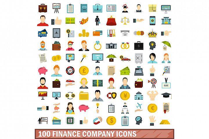 100 finance company icons set, flat style