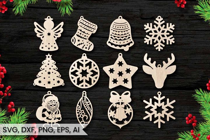 12 Christmas Ornaments, Cut File, Instant Download