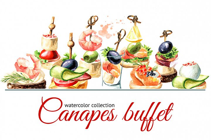 Canapes buffet. Watercolor set