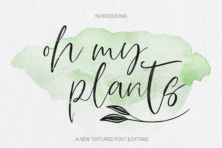 Oh My Plants Textured Font & Doodles