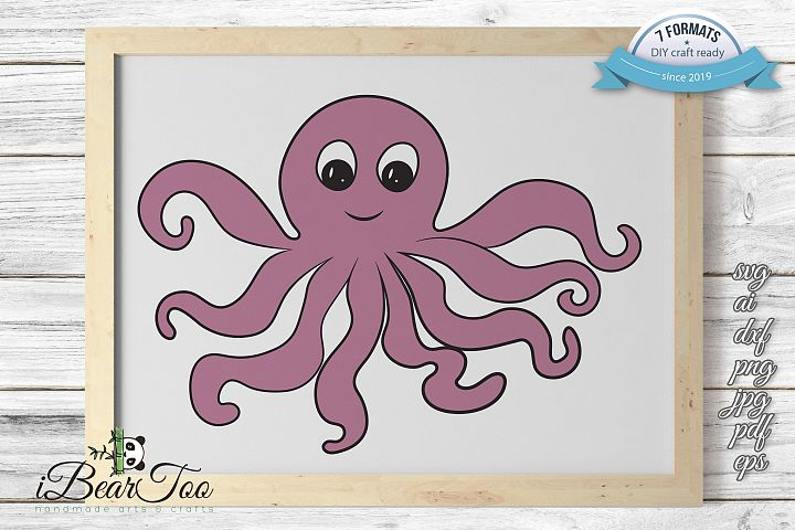 Octopus Purple SVG Squid Clipart Calamari Vector Cut Files