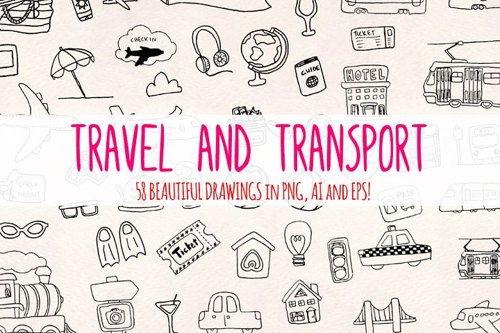 58 Travel Transport Holiday Industry Vector Sketch Elements