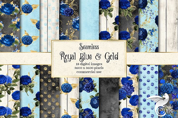Royal Blue and Gold Floral Digital Paper