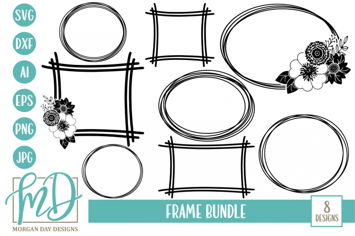 Floral Frame - Floral Wreath - Frame Bundle SVG