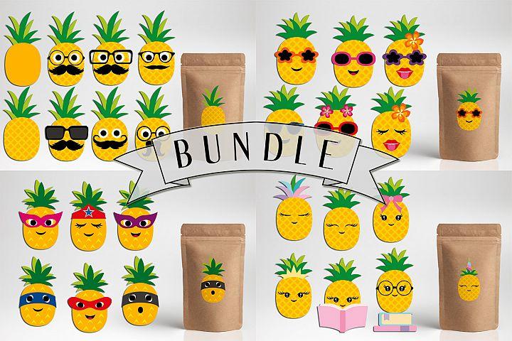 Pineapple clip art illustrations bundle