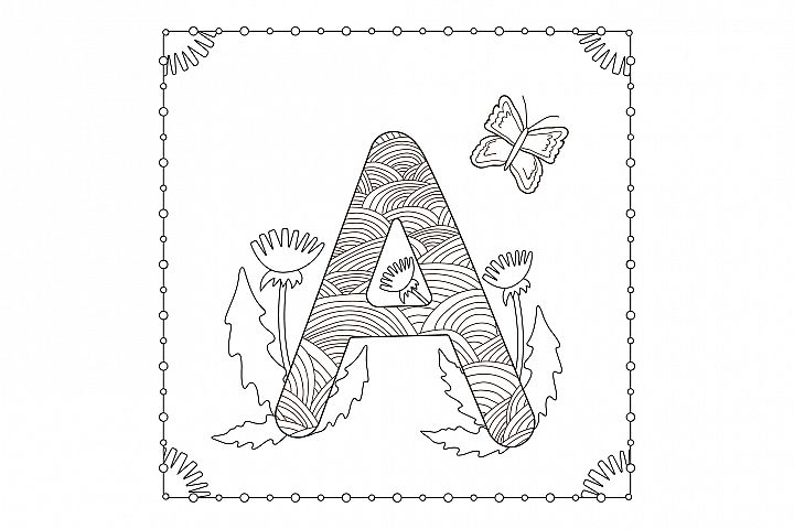 Letter A . Flowers. Coloring page.