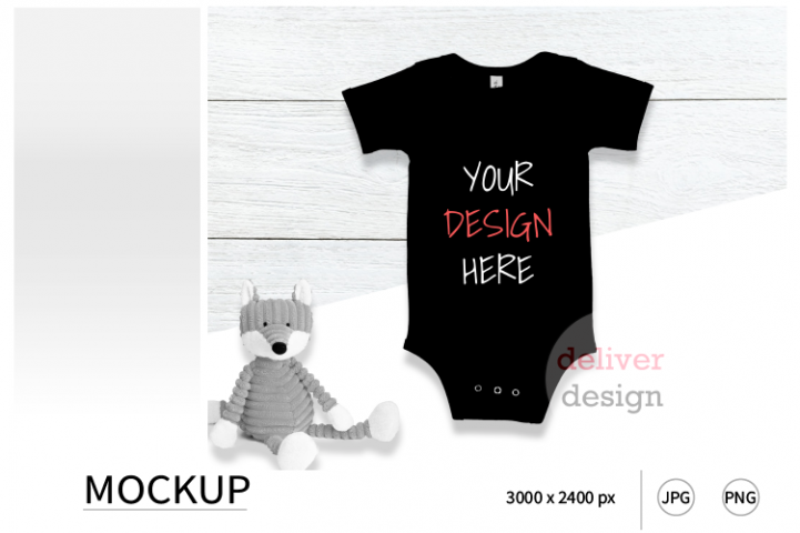 Black Bella Canvas 100B Mockup / Bodysuit Mockup