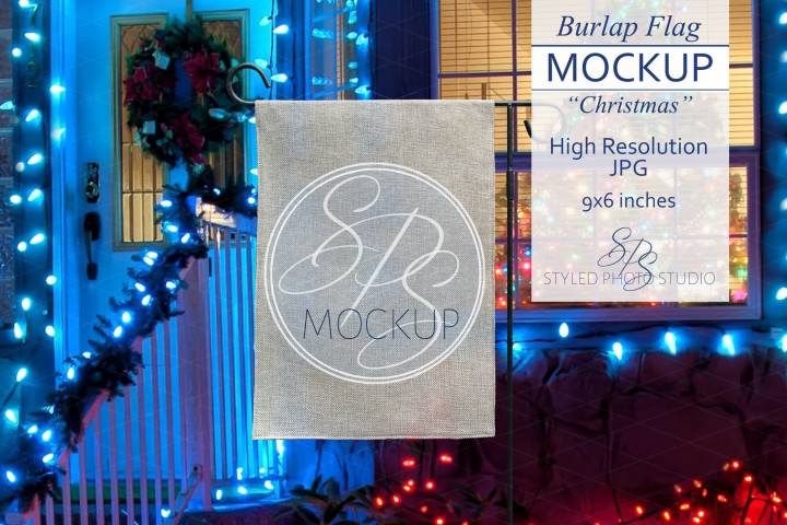 Burlap Yard Flag Mockup for Christmas, Garden Flag Mock Up