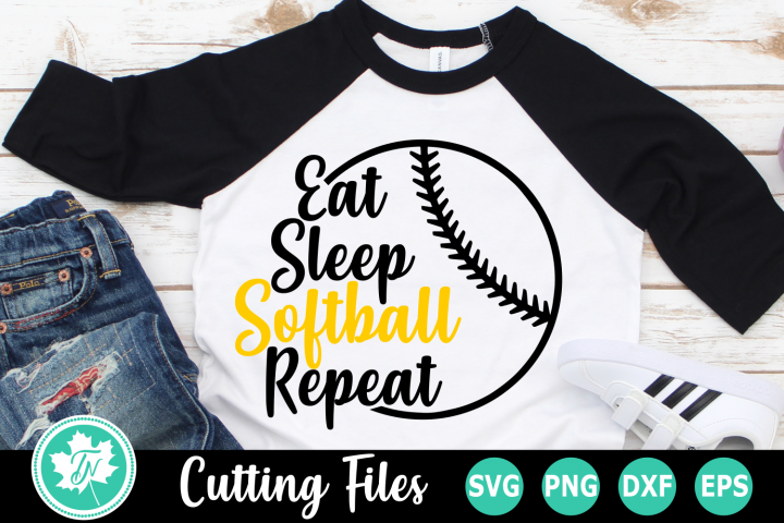 Eat Sleep Softball Repeat - A Sports SVG Cut File example image 1