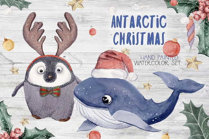 Antarctic Christmas Watercolor Set Whale Penguin Painted