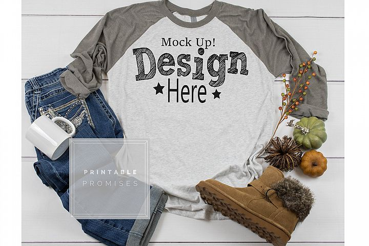 Next Level 6051 Vintage Grey Raglan Mockup Fall Mockup Photo