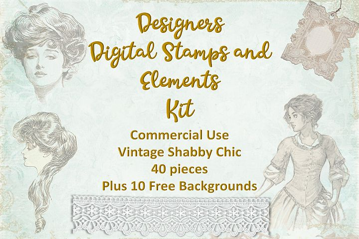 Vintage Digital stamps and Elements with Free Backgrounds
