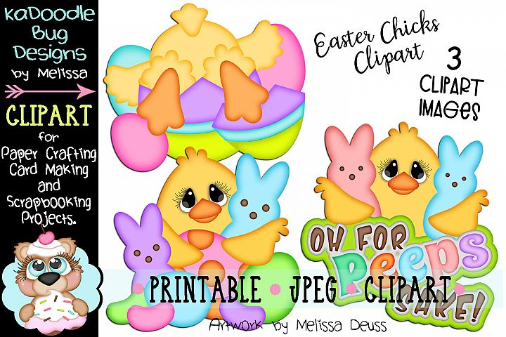 Spring Easter Chicks Clipart - 3 JPEG Files