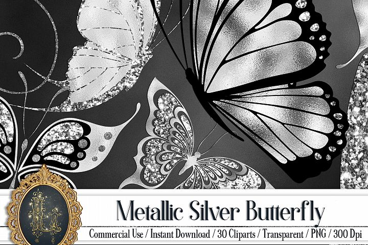 30 Metallic Silver Foil and Glitter Butterfly Digital Images
