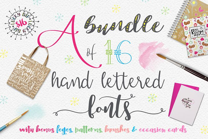 Lucky Dip Hand Lettered Font Bundle