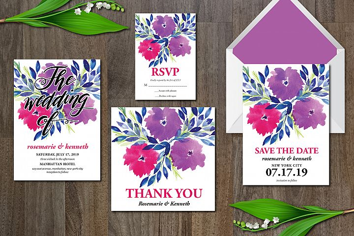 Watercolor Flowers Wedding Suite