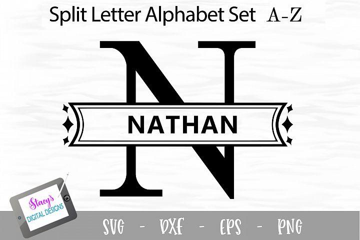 Split Letters A-Z - 26 Split Monogram SVG files - diamonds
