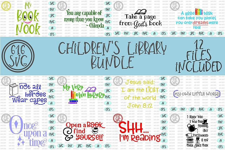 Childrens Library Bundle SVG, DXF, Ai, PNG