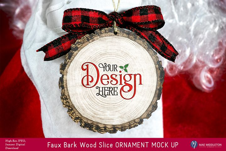 Christmas Mock up - Faux BARK WOOD SLICE ORNAMENT Mock up