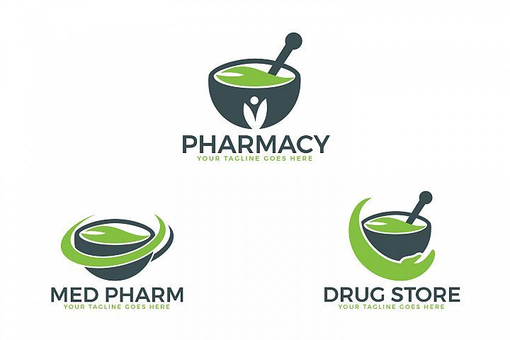 Pharmacy medical logo design set.