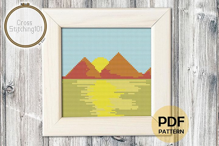 Mountain Scenery Cross Stitch Pattern - Instant Download PDF