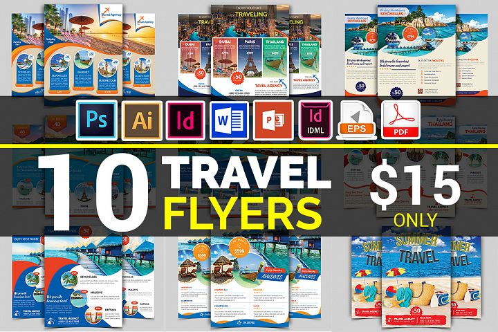 10 Travel Flyers Bundle