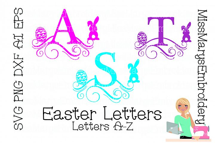 Easter Swirl Letters SVG Cutting File PNG DXF AI EPS