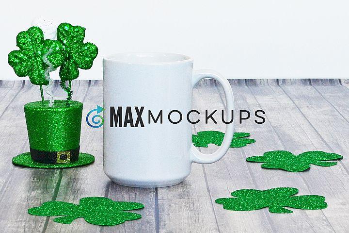 White Mug Mock up, St Patricks Day, 15 oz cup