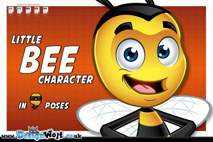 Little Bee Character - In 9 Poses