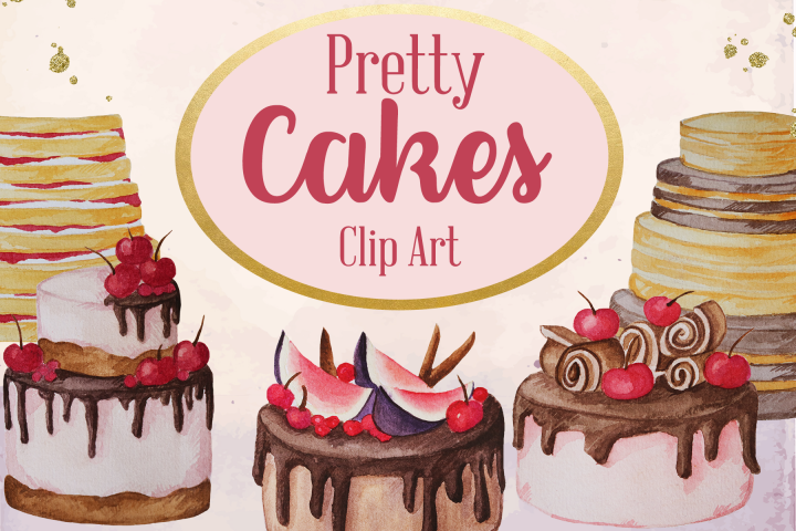Pretty Cakes Watercolor Dessert Clip Art