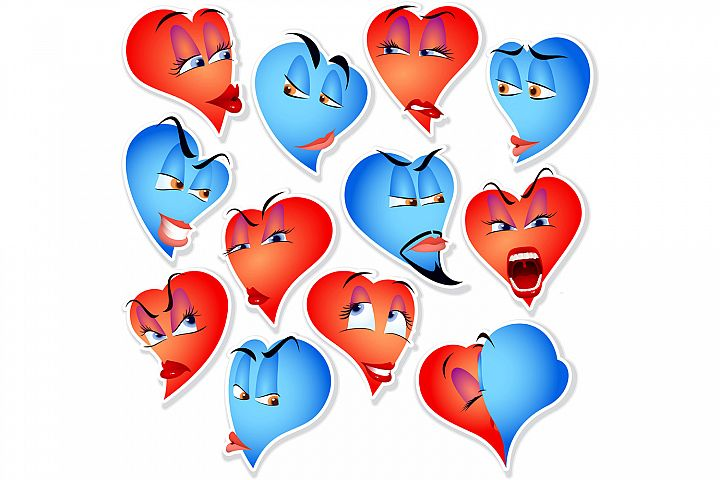 Vector Set Smile Avatar Icon Heart Emotions