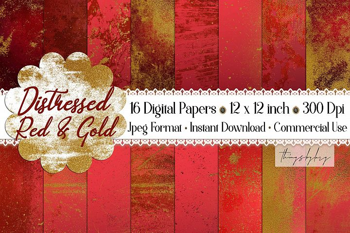 16 Distressed Red and Gold Artistic Painted Digital Papers