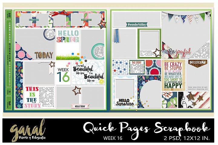 Quick Pages Scrapbook, Week 16 2018 Project life, Pocket Scrapbook