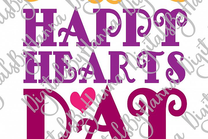 Happy Hearts Day Valentine's Sign Print & Cut File PNG SVG example image 4
